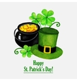 Stpatrick day greeting card with hat coins and vector image vector image