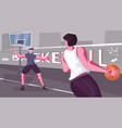 street basketball flat composition vector image