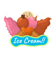 summer sundae logo and label for ice cream shop vector image vector image