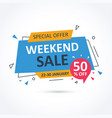 weekend sale banner with discount vector image vector image