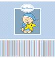Baby boy birth card vector image