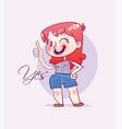 cartoon happy girl making thumbs up sign vector image