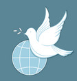white dove with an olive branch against the vector image