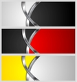 Abstract banners with metal waves vector image vector image