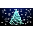 Abstract green christmas tree on black background vector image vector image