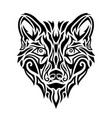black tribal tattoo art with stylized wolf head vector image vector image