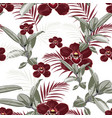 burgundy orchids exotic ficus and tropical palm vector image vector image