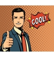Cartoon businessman and bubble speech thumb up vector image