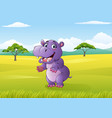 cartoon funny hippo in the jungle vector image vector image