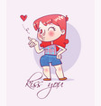 cartoon happy girl sends an air kiss vector image vector image