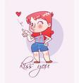 cartoon happy girl sends an air kiss vector image