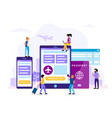 check-in concept with tablet vector image vector image