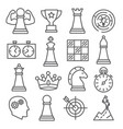 chess line icons set on white background vector image vector image