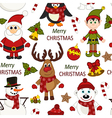 Christmas seamless pattern with Santa penguin deer vector image