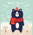 christmas with bear and trees in cart vector image vector image