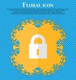 closed lock Floral flat design on a blue abstract vector image vector image