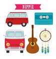 colorful hippie icons vector image vector image