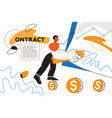 contract - colorful flat design style web banner vector image