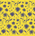 contrast yellow hand drawn ink flowers pattern vector image