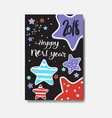 cute happy new year 2018 card doodle design winter vector image vector image