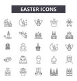 easter line icons signs set outline vector image