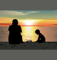 father and son sitting on the beach watching vector image