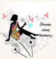 floral background with silhouettee of a girl vector image vector image