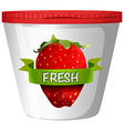 Fresh strawberry in plastic cup vector image vector image