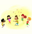 group cartoon kids are dancing while their vector image vector image