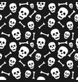 halloween seamless pattern with skull and bone vector image vector image