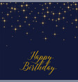 happy birthday background with shiny golden stars vector image vector image