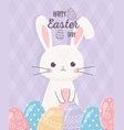 happy easter white rabbit with eggs decoration vector image vector image