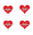 heartbeat set in red color vector image vector image