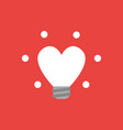 icon concept of glowing heart-shaped light bulb vector image vector image