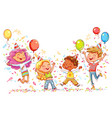 kids jumping and dancing at birthday party vector image vector image