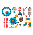 machine parts different mechanism vector image vector image