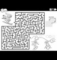 maze game with skiing girls coloring book page vector image vector image