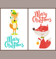 merry christmas fox set on vector image vector image