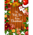 merry christmas wish greeting card vector image vector image