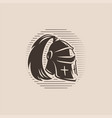 metal helmet from medieval warrior with ponytail vector image