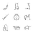 modern carpet sweeper icon set outline style vector image