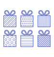 Outline style gift boxes set vector image