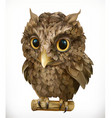 Owl Night bird Funny animal 3d icon vector image vector image