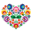 Polish olk art art heart embroidery with flowers vector image vector image