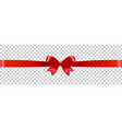 red ribbon with bow transparent background vector image vector image