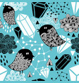 seamless pattern with strange birds and design vector image vector image