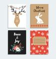 set hand drawn christmas greeting cards vector image vector image