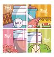 set of food cartoons cards