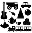Set of toys silhouettes 2 vector image