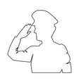 silhouette military saluting vector image vector image
